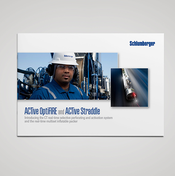 Front cover of brochette showing engineer and downhole tool