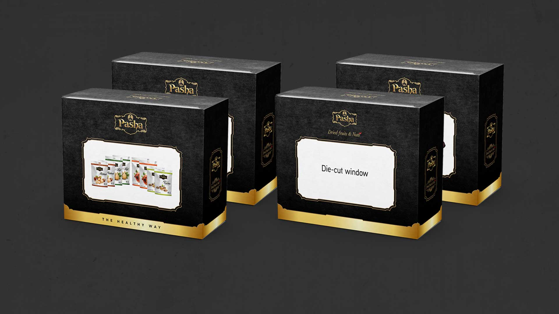 Four black and gold boxes showing detail of the front and back layout