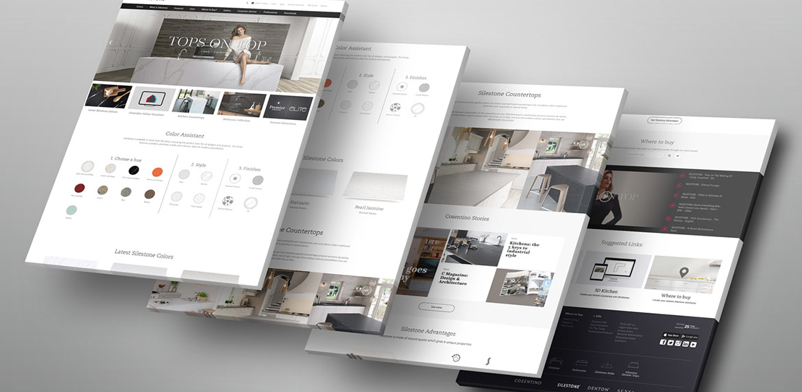 Four pages showing look and feel of website